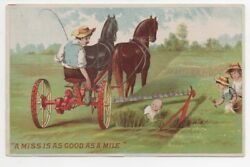 Large 1890s Agricultural Trade Card For Walter Wood Mower With Children And Plow