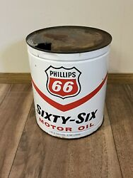 Vintage Phillips 66 Oil 1 Gallon Metal Can Gas Station Antique