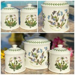 """Portmeirion Botanic Garden Veronica Speedwell 5"""" And 3"""" Domed Lid Jar Containers"""