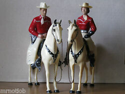 Vintage 1950's Hartland 800 Series Red/white Champ Cowboy And Cowgirl Complete