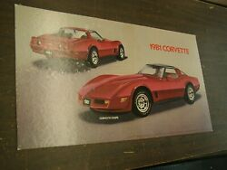 Oem Chevrolet 1981 Corvette Coupe Dealership Display Picture Cardboard Chevy