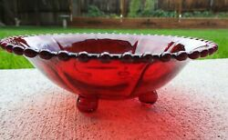 Imperial Glass Company Candlewick Ruby Red 400/74b 8 3/8 4 Footed Bowl
