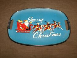Vintage 17 1/2 Santa Claus And Reindeer Merry Christmas Plastic Serving Tray