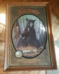 1992 Hamms Beer Black Bear Mirror Bar Sign 1st And The Series Wildlife Northwoods