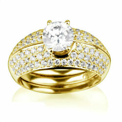 Ring And Band Diamond Engagement Set 2.2 Ct Si Round Accented 18k Gold