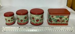 Lot 4 Lithograph Toy Spice Tins
