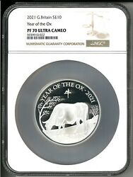 2021 Great Britain Andpound5 Lunar Ox 5 Oz Silver Proof Coin Ngc Pf 70 Ucam - 188 Made