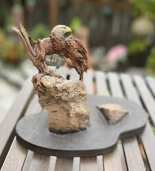 Rick Cain Sculpture Limited Edition Eagle Cave On Tree 9