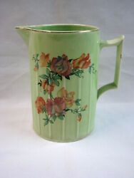 Vintage Limoge China Co Usa Floral Emerald Glow Pitcher