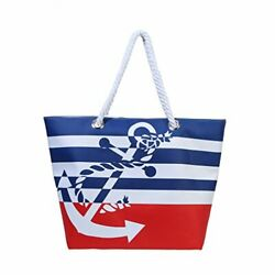 Waterproof Beach Bag Extra Large Summer Tote Top Magnet Clasp Bag With Red $26.03