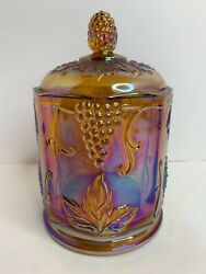 Indiana Harvest Grape Carnival Glass Candy Dish/jar With Lid, Orange