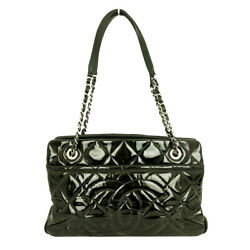Chain Shoulder Patent Black Silver Fittings Bag Women And039s Secondhand