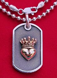 Queen Baby Sterling Silver And 18k Yellow Gold Heart-crown Pendant Chain Necklace