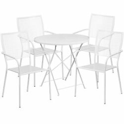 30in Round Metal Folding Patio Table Set With 4 Square Back Chairs White