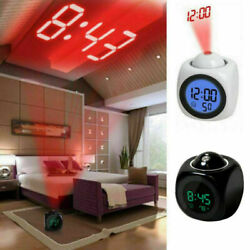 Wall Ceiling Digital Projection Alarm Clock LCD Display Voice Time Temperature