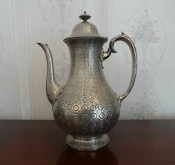 Superb Antique English Sterling Silver Coffee Pot Rare Persian Style London