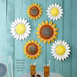 Set of 3 Metal Wall Flowers Art Covered Porch Home Decor