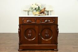 Walnut Victorian Antique Small Chest, Nightstand Or Commode, Marble Top 36280