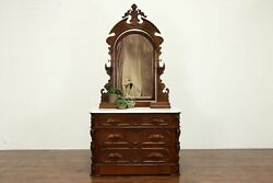 Walnut Victorian Antique Chest Or Dresser, Jewelry Boxes, Mirror, Marble 35373