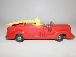 Vintage Toy 12 Lewis Marx And Co Plastic Fire Engine Water Tank Friction Truck