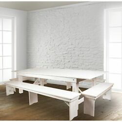 9' X 40 Antique Rustic Folding Farm Table And Four Bench Antique Rustic White 5
