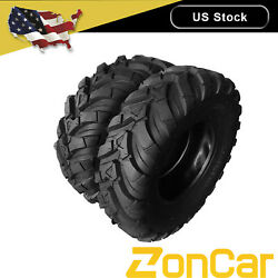 2pcs 25x10-12 Black Fits Atv Millionparts 8.5inch Rubber Pair Of Tubeless Tires