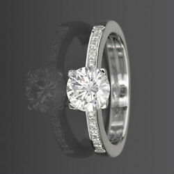 Diamond Solitaire Accented Ring 1.11 Carats 14 Karat White Gold Lady New Si2 D