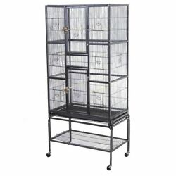 New Bird Parrot Cage Chinchilla Cockatiel Conure Large W/stand And Two Doors