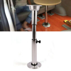 Table Pedestal Stand Base Aluminum+abs Silver For Boat Yacht Adjustable Height