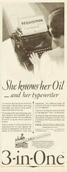 1929 Three In One Oil Co New York Typewriter Secretary 3-in-one Handy Can Ad