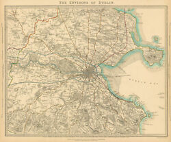 Ireland. The Environs Of Dublin. Sduk 1844 Old Antique Vintage Map Plan Chart