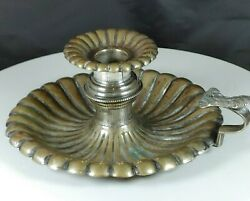 Antique Brass And Silver-plate Candlestick Holder With Finger Loop W Bobeche