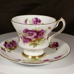 Clarence Bone China England Violets Pansy Teacup And Saucer Gold Gilding