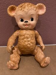 Sun Rubber Company Sunny The Bear Jointed Squeak Toy Brown Vintage 1958 Rare