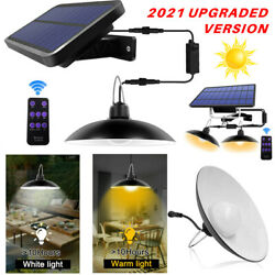 Double Head Solar Pendant Light Outdoor Indoor Garden Shed Camping Light Remote