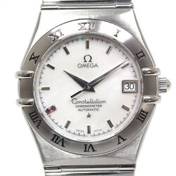 Omega Menand039s Watches Constellation 1516.76 2p Ruby White Shell Dial Swiss Limited