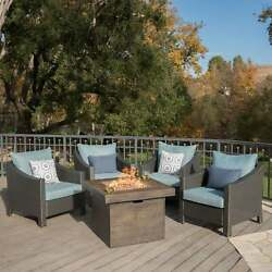 Antibes Outdoor 5-piece Wicker Club Chair Set With Square