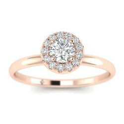 1.15ct D-si1 Diamond Cluster Engagement Ring 14k Rose Gold Any Size
