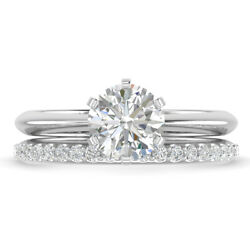 1.21ct D-si1 Diamond Knife-edge Engagement Ring 14k White Gold Any Size