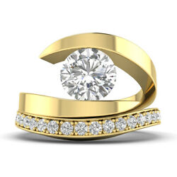 1.42ct D-si1 Diamond Round Engagement Ring 18k Yellow Gold Any Size