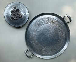 Vintage Aluminum Everlast Circular Tray And A Rodney Kent Andnbspcovered Dish