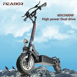 New 60v2400w Fat Tire Electronic Kick E-scooter Foldable Adult Scooter With Seat
