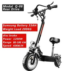 Hq 48v1200w Fat Tire Electronic Kick Scooter Foldable Adult E-scooter W/ Seat Us