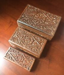 3 Hand-carved Wooden Hinged Nesting/stackable Trinket Boxes Made In India