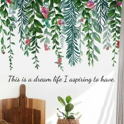 Tropical Leaves Green Plant Wall Stickers Decal Nursery PVC Art Mural Home Decor