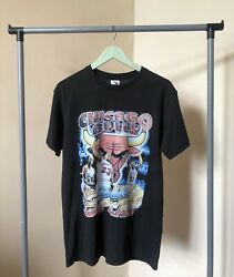Vintage 90's Chicago Bulls Double 3peat The Dynasty World Champions T-shirt/m