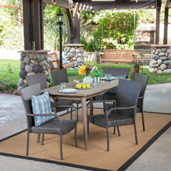 7-piece Wood And Wicker Outdoor Dining Set Patio Furniture Deck Stacking Chairs