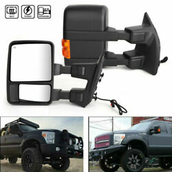 Towing Mirrors Power Heated Smoke Signal Pair For 2008-2015 Ford F250 350 550 A1