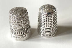 2 X Antique Sterling Silver Thimbles - 1901 And 1922 By Charles Horner - Mint