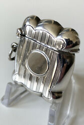Antique Sterling Silver Vesta Case - 1903 - William Hutton And Sons - Excellent